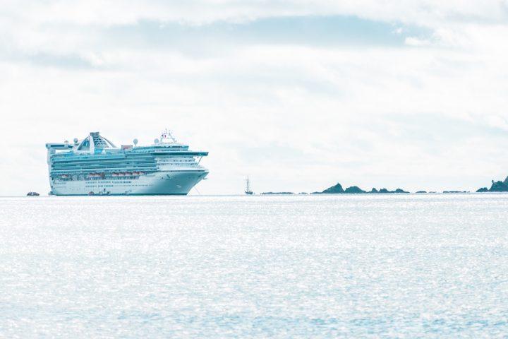 cruise ship anchored near Paihia